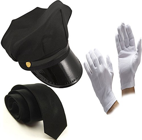 Glossy Look Men's Chauffeur Hat Tie Gloves Limo Driver Costume Accessory One Size Black -