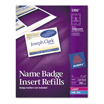 Avery® Additional White Laser Inserts for Badge Holders REFILL,F/5384,NME TAG,300 T060120 (Pack of5) ()