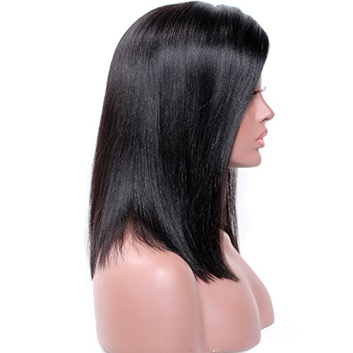 ... Top Lace Front Human Hair Wig Short Brazilian Hair Wigs for Black Women with Baby Hair, Yaki Straight short Hair Human Hair Wigs Natural Color : Beauty