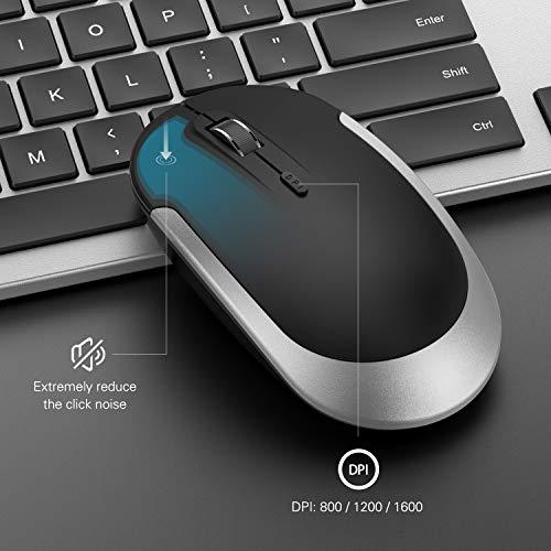 Wireless Keyboard and Mouse Combo - seenda Full Size Slim Thin Wireless Keyboard Mouse with On/Off Switch on Both Keyboard and Mouse - (Black and Silver)