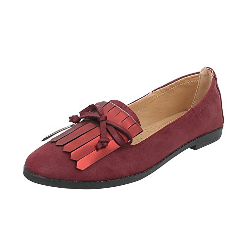 Women's Loafer Flats Block Heel Slippers at Ital-Design Weinrot zEQ3E