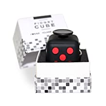 Premium REAL Fidget Cube made of SILICONE, Perfect For Skin Picking, ADD, ADHD, Anxiety and Stress Relief - RED AND BLACK - Prime Ready and Shipped by Amazon