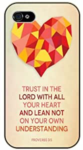 Trust in the Lord with all your heart and lean not on your own understanding - Proverbs 3:5 - Bible verse iPhone 5 / 5s black plastic case / Christian Verses