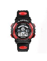 Willtoo(TM) Children Unisex Waterproof Digital LED Watches Sports Wrist Watch with Alarm Date (red)