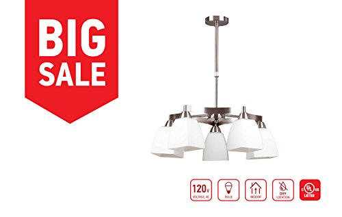 IN HOME 5-Light CHANDELIER CH31, Satin Nickel Finish with Opal Glass Shade, UL listed