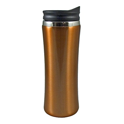 Mug Stainless Liner - Liquid Logic Laguna Mug: Stainless Steel Outer with PP Liner and Push-On Slider Lid, 14 oz, Amber