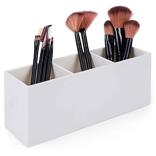 Dseap Makeup Brush Holder Organizer - Acrylic, 3 Compartments - Make up Brushes Holder, Makeup Brush Cup Container Storage Case, White (Large Makeup Brush Cup)