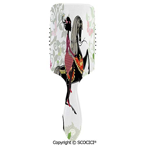 Detangling Hair Brush Soft Comb Cushion Air Spring Inspired Art Composition Girl on Pony with Ornaments Leaves Butterflies Hairbrush for Women Reducing Hair Breakage and Frizzy, No More Tangle