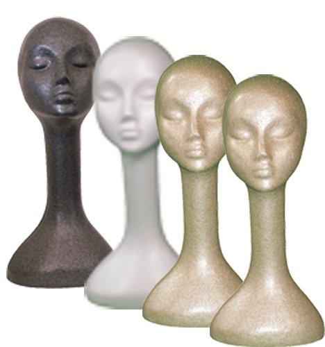 Long Neck Female Head, Styrofoam, 1 White, 1 Black, and 2 Fleshtone Plastic Mannequins
