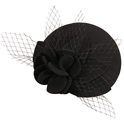 Zoylink Beret Hat Veil Party Hat Decorative Floral Party Top Hat for Women Black