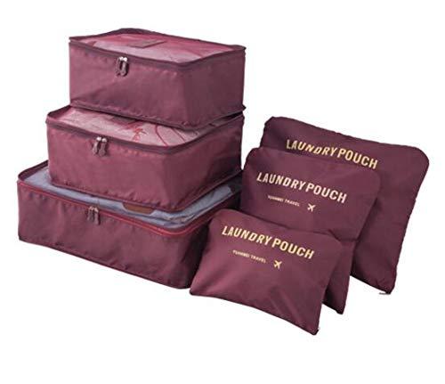 (Set of 6Pcs Waterproof Travel Bag for Women Men- Large Capacity Waterproof Travel Duffle Bag- Luggage Organizer Packing Cubes for Girl- Travel Handbags for Women (Wine Red))