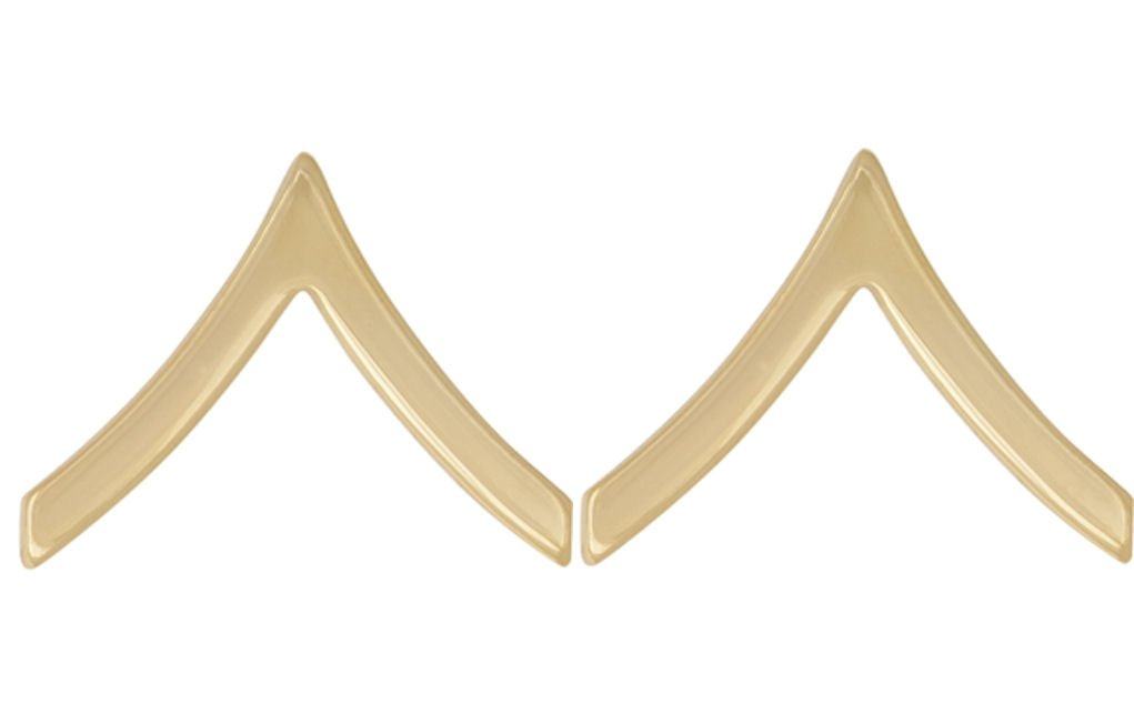 U.S. Army Metal Pin On Enlisted Rank NON-SUBDUED (SHINY) - 1 PAIR (E2 Private) by CUSTOM (Image #1)