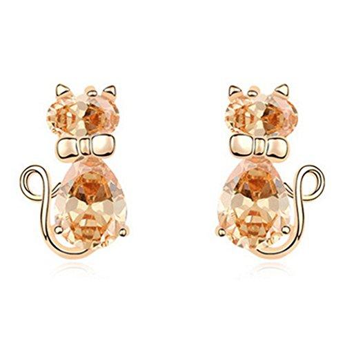 18K Gold Cubic Zirconia Animal Kitty Cat Stud Earrings Hypoallergenic for Girls Women Kids Gifts Idea