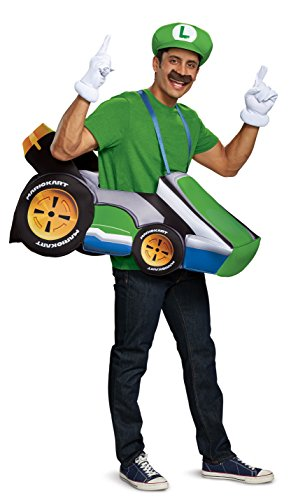 Disguise Men's Luigi Kart Adult Costume, Green, One Size