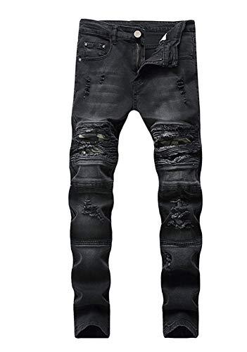 Versaces Maschi Jeans Ginocchio Nero Vestibilità Slim Elasticità Piccolo Dritto Locomotiva Lavaggio Pantaloni Black
