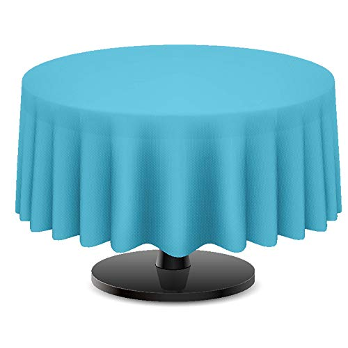 DecorRack 4 Round Tablecloth -BPA- Free Plastic, 84 inch, Dining Table Cover Cloth Round for Parties, Picnic, Camping and Outdoor, Disposable or Reusable in Turquoise (4 -