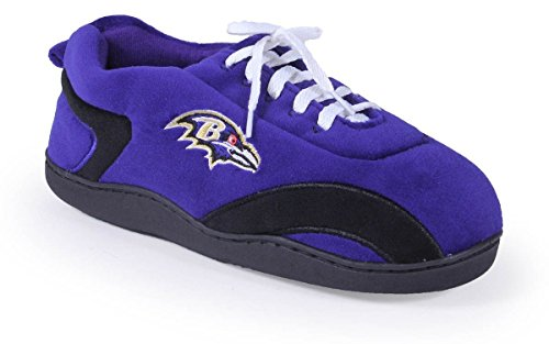 Happy Feet & Comfy Feet - OFFICIALLY LICENSED Mens and Womens NFL All Around Slippers Baltimore Ravens