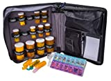 Med Manager Deluxe, Portable Pill Organizer Case, Travel Medication Bag, Holds Fifteen Various Sized Pill Bottles, Great for Home Or Travel, Comes with Free 7 Day Pill Box, Pill Cutter, and Magnifier