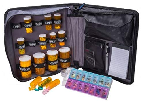 Med Manager by Case-It, Portable Pill Organizer Case, Travel Medication Bag, Holds Various Sized Pill Bottles, Great for Home Or Travel (Deluxe, Red)