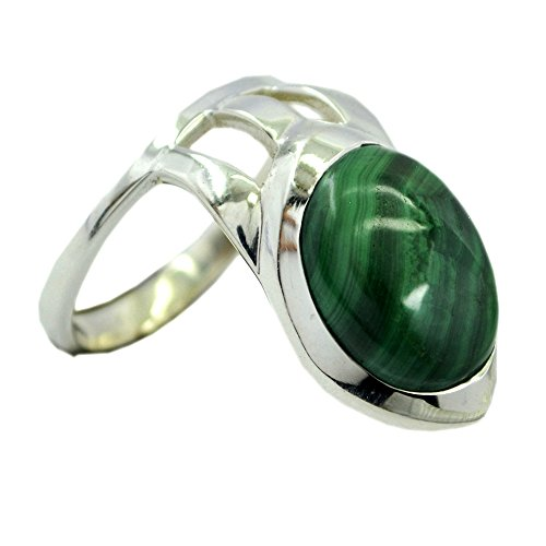 Jewelryonclick Natural Malachite Rings Solid Silver Fashion Handmade Jewelry In Size 4,5,6,7,8,9,10,11,12 ()