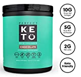 Perfect Keto Collagen Peptides Protein Powder with MCT Oil - Grassfed, GF, Multi Supplement, Best for Ketogenic Diets, Use in Coffee, Shakes for Women & Men - Chocolate