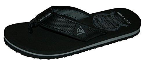 Herren Dunlop Memory Foam Zehentrenner Sommer Strand Urlaub Zehentrenner Sandalen Schwarz