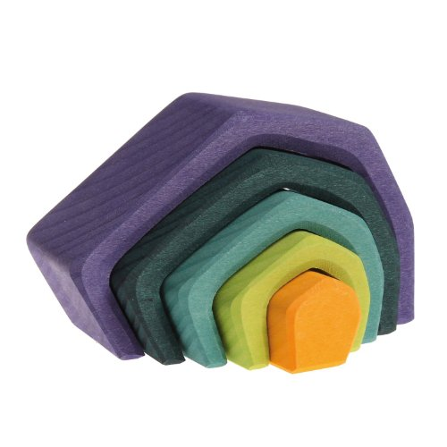 Grimms Small Stone Caves Nesting Wooden Blocks Stacker, Elements of Nature: EARTH