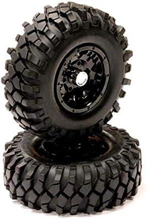 Integy RC Model Hop-ups C23761BLACK Machined Alloy Beadlock Wheel + All Terrain Tire 1.9 Size (2) for Scale Crawler