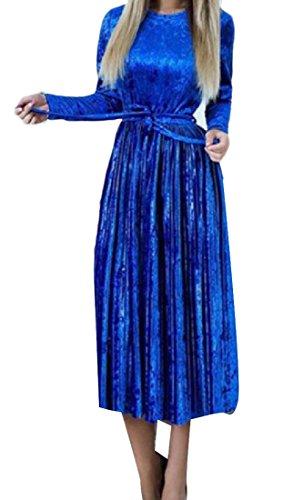 Comodi Vestito Luce Womens Sera Di Blu Oscillare Partito Solido Velluto Classico pccqTdwAS