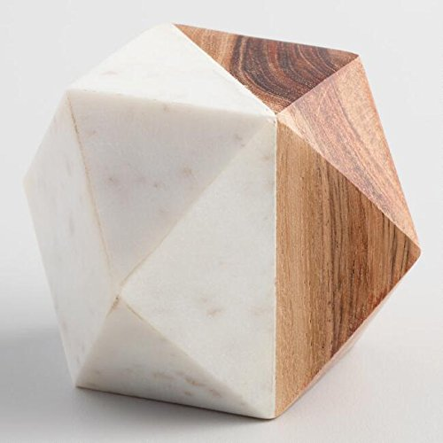 (Wood And Marble Geometric Paperweight)