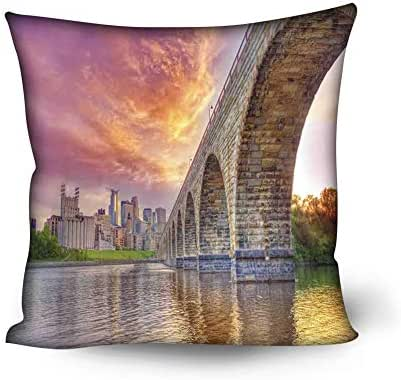 GULTMEE Soft Decorative Square Accent Throw Pillow Covers Cushion Case,Stained Abutments of Historical Stone Arch Bridge Crossing The Mississippi River,16x16 inches,for Sofa Bedroom Car