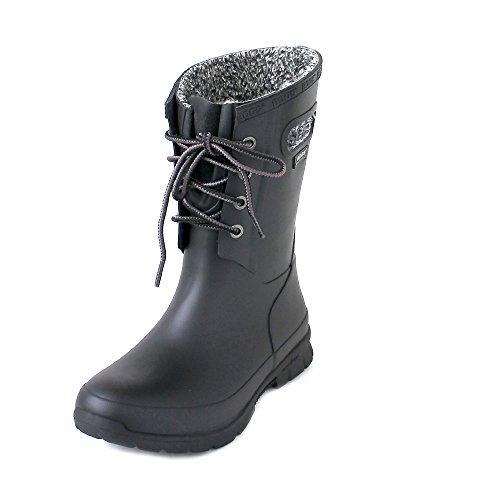 Bogs Womens Amanda Plush Black Mid Calf Rubber Wellington Boots Size 6.5