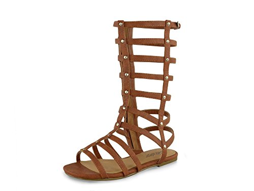 Kids Tan Black Nubuck Gladiator Stud Flat Sandals for Summer Holiday Wear Cute Footwear Wide Size Range Tan