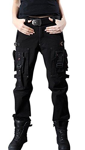 chouyatou Women's Stylish Military Multi-Pockets Wild Cargo Pants (Medium, Black)