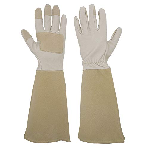 Pruning Gloves Long for Men & Women, Pigskin Leather Rose Gardening Gloves- Breathable & Durability Gauntlet Gloves Medium by HANDLANDY