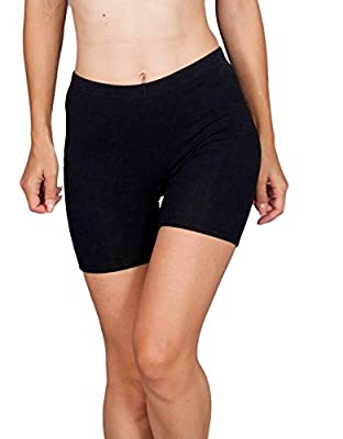 Emprella Slip Shorts | 3-Pack Black Bike Shorts | Cotton Spandex Stretch Boyshorts For Yoga