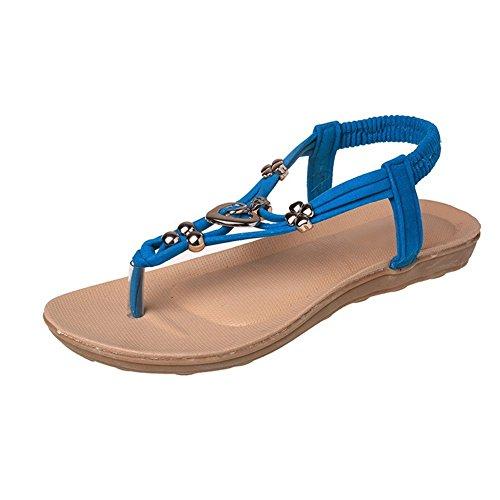 Damen Lieblings Schuhe Sommer Schuhe Sandalen Wohnungen Hausschuhe Wedges Sandale Mädchen Strass Anhänger T Korsar Partei Riemchen Zehentrenner Rom Flip Flops Damenschuhe Blau