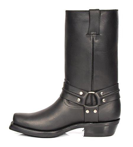 Western HLG05REH Absatz Wadenlänge Zehe überstreifen Cowboy Herren Stiefel Leder Schwarz Quadrat Schuhe I6pgUg