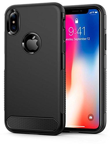 OMOTON iPhone X case, Schutzhülle für iPhone x, ultra Slim, bombenfest, kratzfest, schwarz