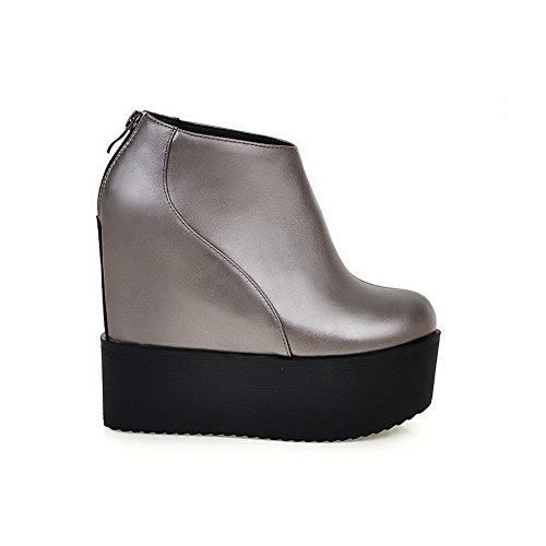 Material Boots Ankle Solid Toe Round Silver Heels Women's AgooLar High Closed high Soft 8PH0R