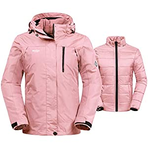 Wantdo Women's 3-in-1 Waterproof Ski Jacket Interchange Windproof Puffer Liner Warm Winter Coat Insulated Short Parka 18