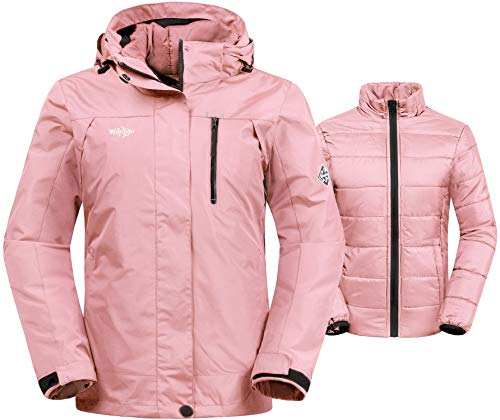 (Wantdo Women's Waterproof 3-in-1 Skiing Jacket Softshell Snowboarding Coat with Interchangable Lining(Pink, Medium)?)