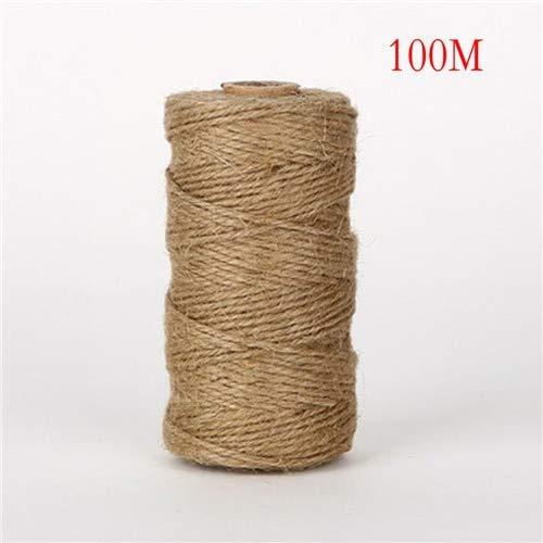 100m DIY Scrapbooking Florists Craft Decor Jute Twine Burlap String Hemp Rope Wedding Gift Wrapping Cords Thread ()