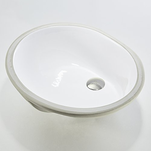 "KDK Bathroom Sink 19-1/4""×15-5/8""×7-7/8"" Oval Ceramic Undermount Lavatory Vanity Bathroom Sink Simple Hole Pure White B05"