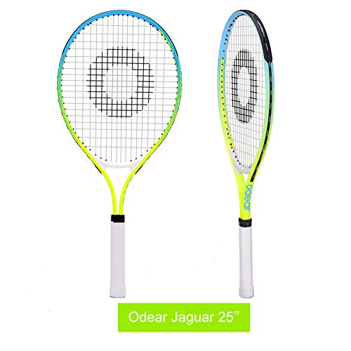 Odear Kids Junior Tennis Racket Strung with Cover (Green, 25)