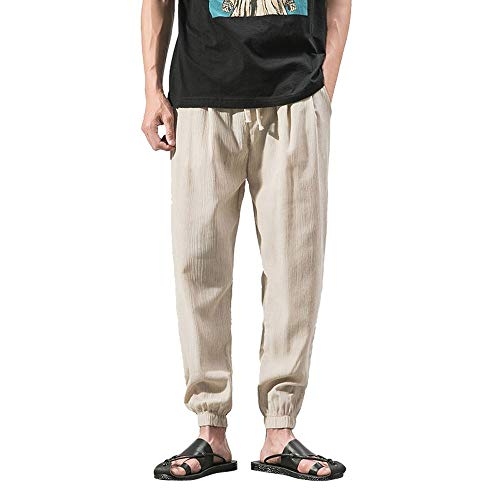 Spbamboo Mens Casual Pants Slim Sports Pants Ankle Length Linen Baggy Trousers by Spbamboo (Image #7)