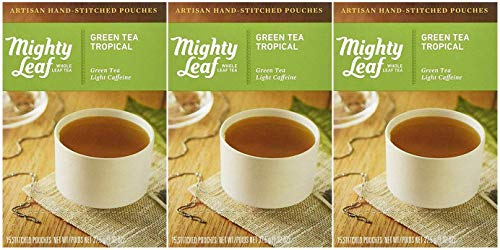 Mighty Leaf Green Tea, Tropical, 15 Pouches (Pack of 3)