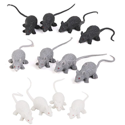 12 Plastic Rats Mouse Scary Creature Halloween Party Pranks Trick Props by uptogethertek
