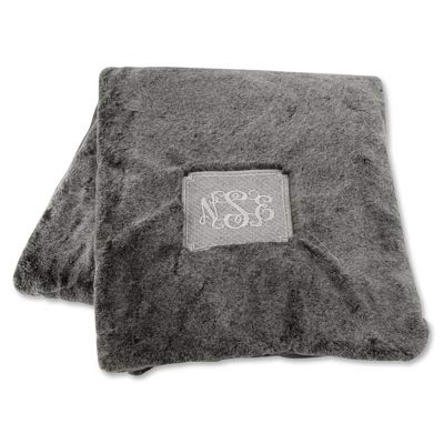 Things Remembered Personalized Grey Faux Fur Throw with Embroidery Included ()