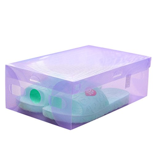 Yeefant Hot Sell Foldable Color Transparent Plastic Crystal Shoe Boxes Organizer Flip Type Drawer Stackable Tidy Storage Box for 1 Pair Shoes, Fold Size 11x7.3x3.7 Inch,Purple from Yeefant Housekeeping Organizers